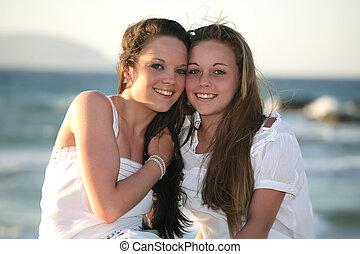 Not Beautiful teen sisters in woods