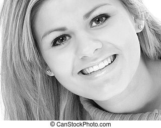 Beautiful Teen Smiling in Black and White