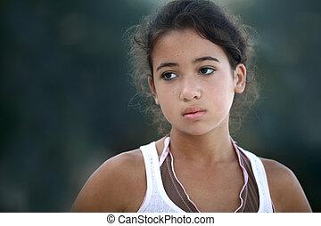 Beautiful sad asian teenage girl
