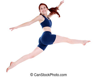 Beautiful Teenage Girl in Workout Clothes Leaping. Shot in studio over white.