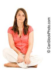 Beautiful teenage girl isolated on white background