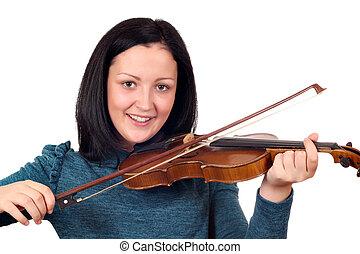 beautiful teenage girl play violin portrait on white