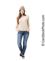Beautiful teenage girl posing in casual clothes