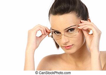 Beautiful teenage girl with specs