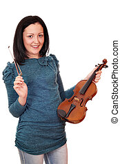 beautiful teenage girl with violin on white