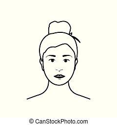 Beautiful teenage girl, woman avatar. Brunette woman isolated on white background