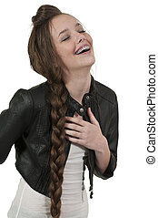 Beautiful Teenage Woman Laughing