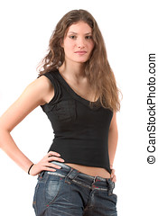 Beautiful teenager standing with hands on her hips - Pretty...