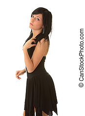 Beautiful teenager young girl in black elegant dress