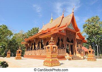 Beautiful temple is teak wood sanctuary, Thailand.