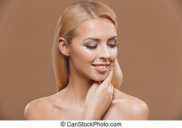 beautiful tender woman - beautiful blonde woman with perfect...