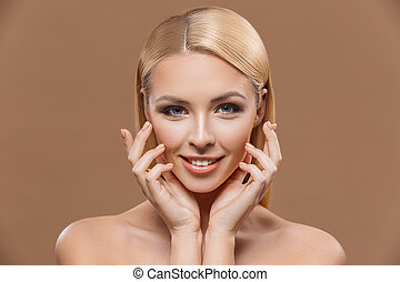 tender woman with perfect skin - beautiful tender woman with...