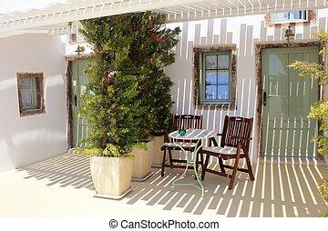 terrace of old resort house in Santorini