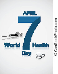 Beautiful text 7 April world health day Syringe colorful medical background vector