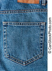 Beautiful textile blue jeans with pocket close up