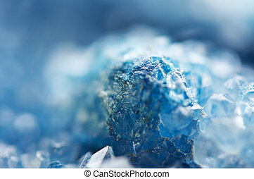 Beautiful texture of Blue crystals. mineral its blurred ...