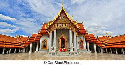 Beautiful Thai Temple Wat Benjamaborphit, temple in Bangkok,...