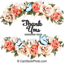 Beautiful Thank You greeting card with roses and butterflies. Vector.