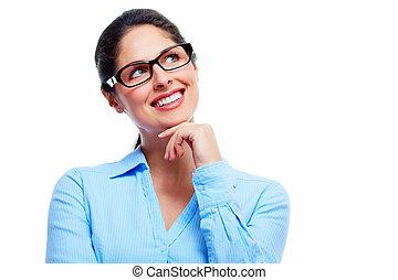 Beautiful thinking business woman.