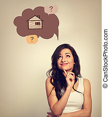 Beautiful thinking business woman looking up on illustration house in bubble above with questions. Insurance protection concept, investment to safety money. Vintage color style