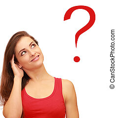 Beautiful thinking teenager girl looking on red question sign