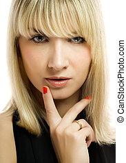 Beautiful thoughtful woman close-up portrait