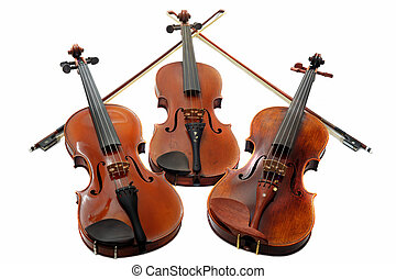 three violins - beautiful three violins isolated on a white...