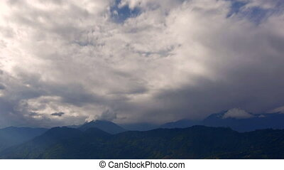 Beautiful time lapse HD stock footage of clouds passing over Himalayan mountains.