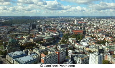 """Beautiful time lapse of Berlin city life and cloudy sky. View from TV tower"""