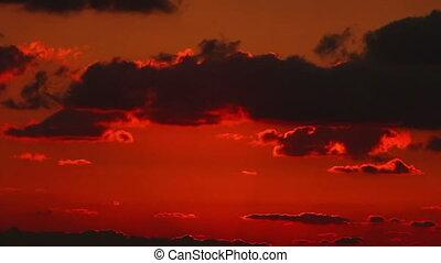 Beautiful time lapse sunrise throug