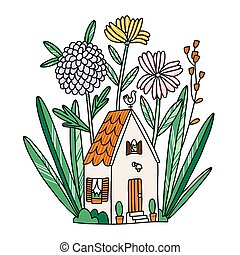 Beautiful tiny house in flowers, with cat in a window, vector illustration
