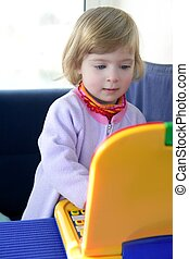 Beautiful toddler little girl with toy computer