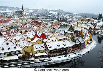 Beautiful top view of historic center of Cesky Krumlov, Vltava river, Czech Republic