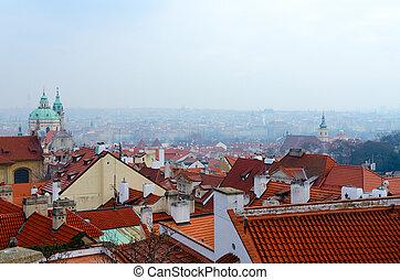 Beautiful top view of historical center of Prague, Czech Republic