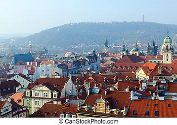 Beautiful top view of historical center of Prague (Stare Mesto), Czech Republic