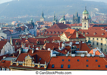 Beautiful top view of historical center of Prague (Stare Mesto) on sunny day, Czech Republic