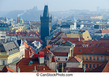 Beautiful top view of medieval Powder Tower in historical center of Prague, Czech Republic