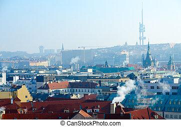 Beautiful top view of Prague, Czech Republic