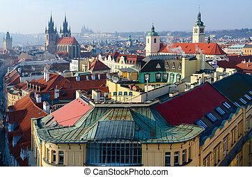 Beautiful top view on historical center of Prague (Stare Mesto), Czech Republic