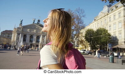 Beautiful Tourist Girl Having Fun
