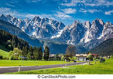 Beautiful town Gosau in the Alps, Austria