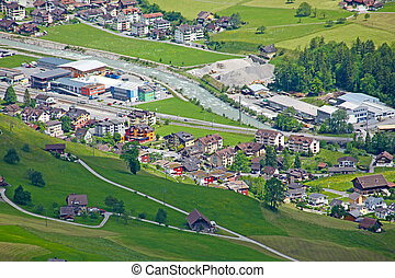 Beautiful town in a valley of the Alps in Switzerland