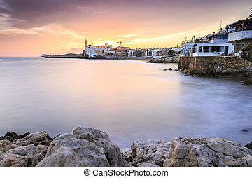 Beautiful town of Sitges at sunset, Spain - Beautiful town...