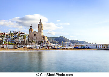 Beautiful town of Sitges, Catalonia, Spain - City center of...