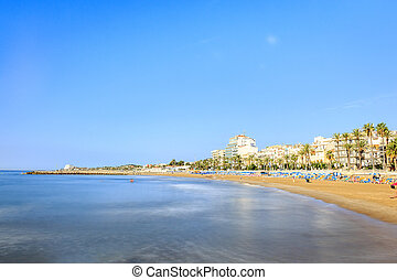 Beautiful town of Sitges, Catalonia, Spain - Wide, sandy...