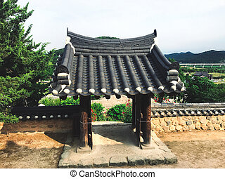 Beautiful traditional arch in Naksansa temple, South Korea