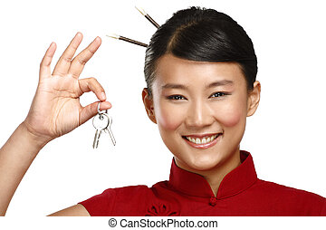 Beautiful traditional asian chinese woman showing flat keys