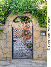 Beautiful traditional house entrance with iron door, Nicosia, Cyprus