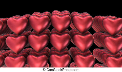 Beautiful transition from a plurality of ballons red heart with alpha channel
