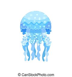 Beautiful transparent jellyfish sea creature vector Illustration on a white background
